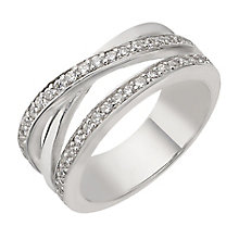 Silver cubic zirconia three row crossover ring - Product number 1740377