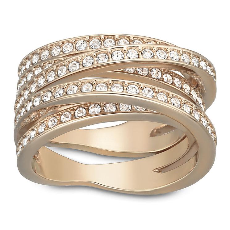 Swarovski rose gold-plated crystal spiral ring size L - Product number 1740733