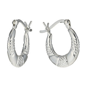 Sterling Silver Children's Patterned Creole Earrings - Product number 1742043