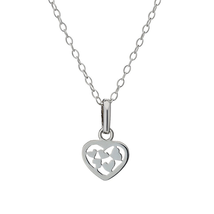 "Sterling Silver Children's Heart Cut Out 14"" Pendant - Product number 1742124"