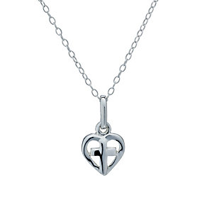 "Sterling Silver Children's Heart & Cross 14"" Pendant - Product number 1742132"