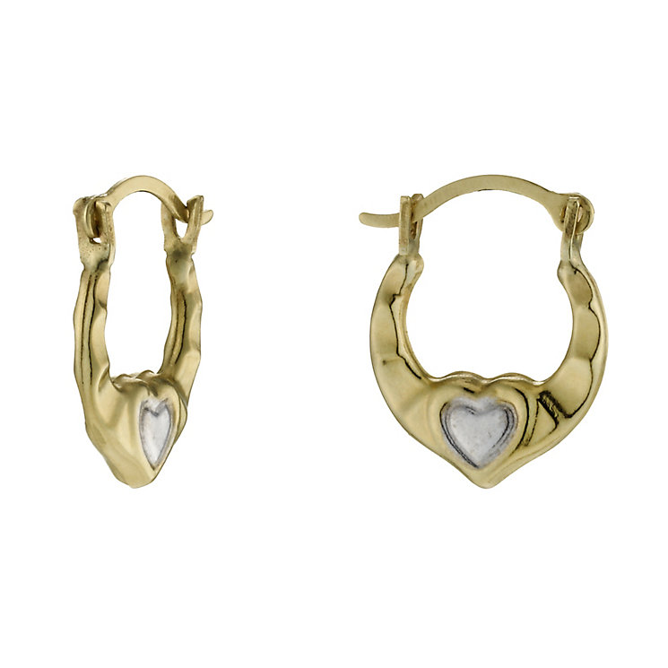 9ct Gold & Rhodium-Plated Children's Small Creole Earrings - Product number 1742159