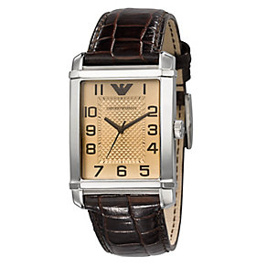 Emporio Armani men's amber dial brown leather strap watch - Product number 1745034