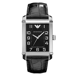 Emporio Armani men's black dial black leather strap watch - Product number 1745131