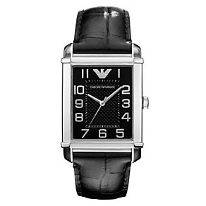Emporio Armani ladies' black dial black leather strap watch - Product number 1745204