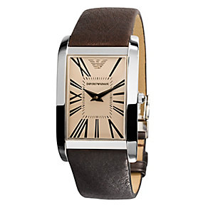 Emporio Armani men's silver dial brown leather strap watch - Product number 1745212