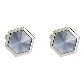 Simon Carter stainless steel blue catseye hexagon cufflinks - Product number 1746227