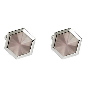 Simon Carter stainless steel pink catseye hexagon cufflinks - Product number 1746235