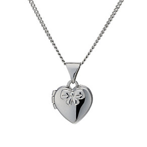 "Sterling Silver Children's Heart & Bow 14"" Locket - Product number 1747592"