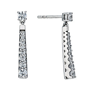 Sterling Silver Rhodium-Plated Cubic Zirconia Drop Earrings - Product number 1748505