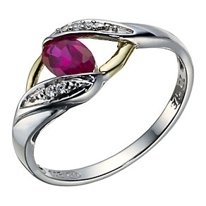 Sterling Silver & 9ct Gold Created Ruby Twist Ring - Product number 1748947