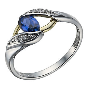 Sterling Silver & 9ct Gold Created Sapphire Twist Ring - Product number 1749099