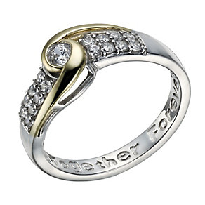 Sterling Silver & 9ct Gold Double Row Cubic Zirconia Ring - Product number 1749242