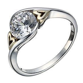 Sterling Silver & 9ct Gold Cubic Zirconia Heart Detail Ring - Product number 1749676