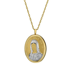 "Together Bonded Silver & 9ct Gold 18"" St Mary Locket - Product number 1750194"