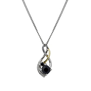 """Sterling Silver & 9ct Gold Double Sapphire Twist 18"""" Pendant - Product number 1750232"""