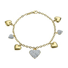"Together Bonded Silver & 9ct Gold Heart Charm 7.5"" Bracelet - Product number 1750852"