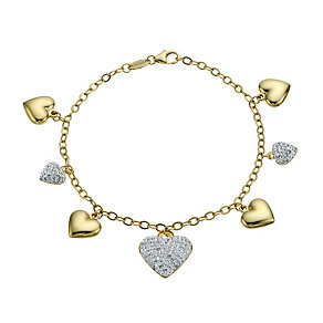 "Together Bonded Silver & 9ct Gold Heart Charm 7.5"" Bracelet - Product number 1750852"