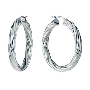 Sterling Silver Rhodium-Plated Large Twist Creole Earrings - Product number 1750887