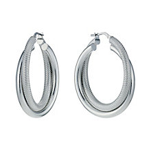 Sterling Silver Rhodium-Plated Double Creole Earrings - Product number 1750895