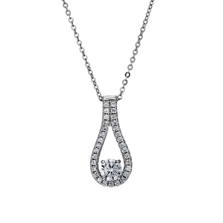 "Silver Rhodium-Plated Cubic Zirconia Oval Drop 18"" Pendant - Product number 1751654"