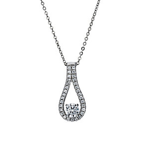 Silver Rhodium-Plated Cubic Zirconia Oval Drop 18