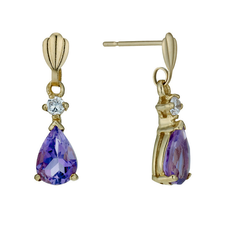 9ct Gold Cubic Zirconia & Amethyst Drop Earrings - Product number 1754467