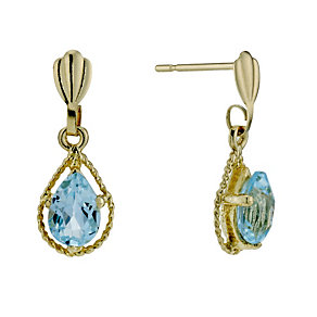 9ct Gold Blue Topaz Bead Outline Drop Earrings - Product number 1754475