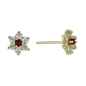 9ct Gold Garnet & Cubic Zirconia Flower Small Stud Earrings - Product number 1754483