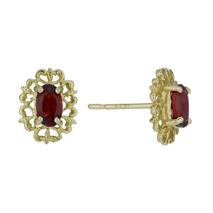 9ct Gold Garnet Fancy Stud Earrings - Product number 1754491