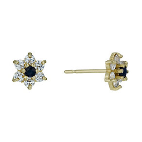 9ct Gold Sapphire & Cubic Zirconia Flower Stud Earrings - Product number 1754505