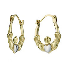 9ct Gold Two Tone Claddagh Creole Earrings - Product number 1754564
