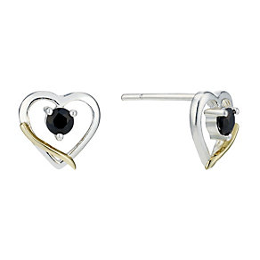 Sterling Silver & 9ct Gold Sapphire Heart Stud Earrings - Product number 1754580