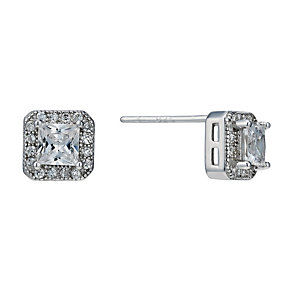Silver Rhodium-Plated Cubic Zirconia Square Stud Earrings - Product number 1754599