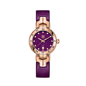 TAG Heuer Link ladies' rose gold purple leather strap watch - Product number 1754734