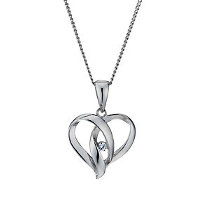 Silver Rhodium-Plated Cubic Zirconia Heart 18