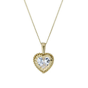 9ct Gold Diamond Cut Cubic Zirconia Heart 16