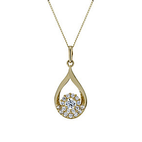 "9ct Gold Cubic Zirconia Teardrop & Flower 18"" Pendant - Product number 1754912"