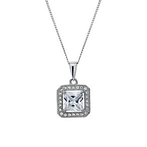 Silver Rhodium-Plated Cubic Zirconia Square 18