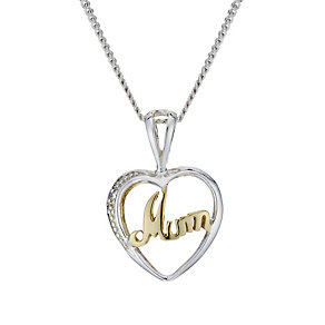 Sterling Silver & 9ct Gold Cubic Zirconia 'Mum' 18
