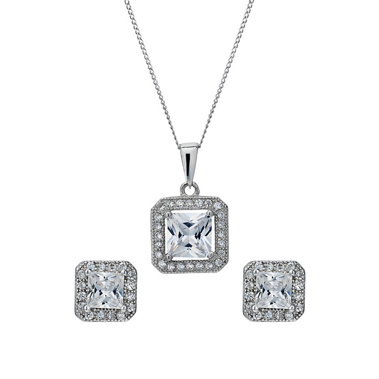 Silver Rhodium-Plated Cubic Zirconia Pendant & Stud Earrings - Product number 1754947