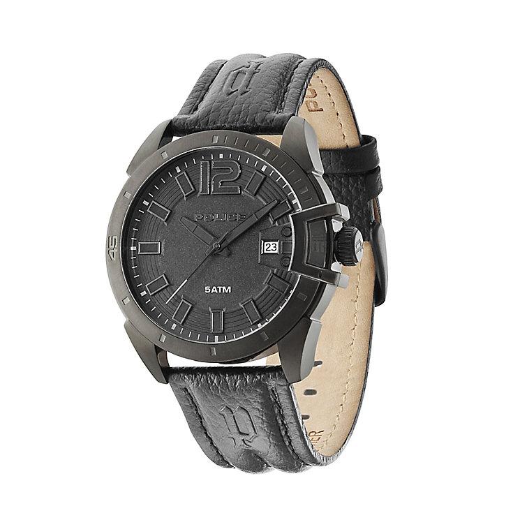 police men 39 s black dial black leather strap watch h samuel