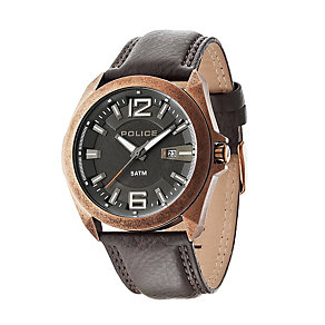 Police Men's Antique Brown Ion-Plated Brown Leather Strap - Product number 1763423