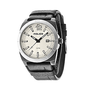 Police Men's Silver Dial Black Leather Cuff Strap Watch - Product number 1763474
