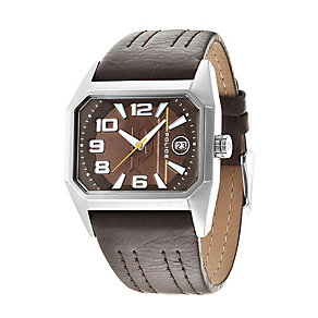 Police Men's Rectangular Dial Brown Leather Strap Watch - Product number 1763504