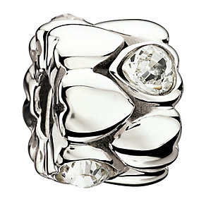 Chamilia Sterling Silver Crystal Connecting Hearts Bead - Product number 1765361