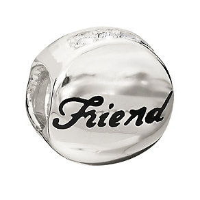 Chamilia Sterling Silver Crystal Friend Medallion Bead - Product number 1765426