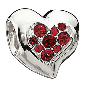 Chamilia Sterling Silver Red Inner Sparkle Heart Bead - Product number 1765469