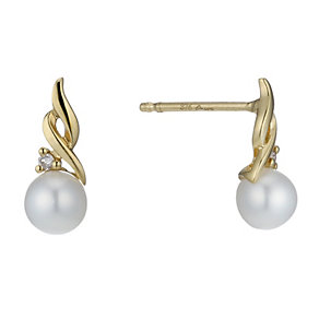 9ct Gold Cultured Freshwater Pearl & Diamond Stud Earrings - Product number 1766724