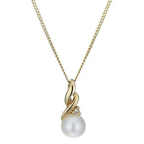 9ct Gold Diamond Set Cultured Freshwater Pearl Swirl Pendant - Product number 1766732